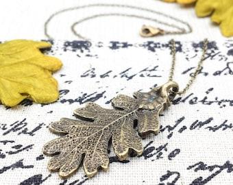 Oak Leaf Necklace, Ranger's Apprentice Inspired Oak Leaf Necklace, Woodland Oak Leaf Necklace, Bronze Leaf Necklace