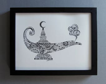 Genie in a lamp from Aladdin pen and ink drawing, Genie lamp, black and white zentangle print, giclee print, middle eastern lamp