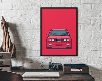 BMW German 3 Series E30 E36 E46 E92 F80 Car Poster Art Print