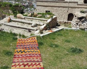 Anatolian Handmade Kilim 100% Wool 32'' x 112'' Handwoven Decorative Kilim Rug