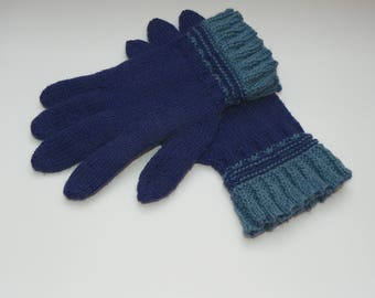 Knit fingered gloves Alpaca wool gloves Knitted gloves  Blue gloves Wool gloves Women's fingered gloves Warmers Woolen gloves