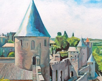 Along the Walls of Carcassonne (oils, 2017)