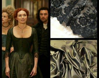 Custom Made Damelza Poldark Olive 18th Century Taffeta Ball Gown
