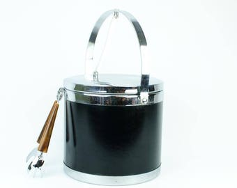 Vintage Ice Bucket, Black and Chrome, 1960s Mid Century Modern