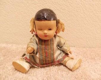 Antique Unmarked Oriental Composition Toddler Baby Girl Doll - Oriental Dolls