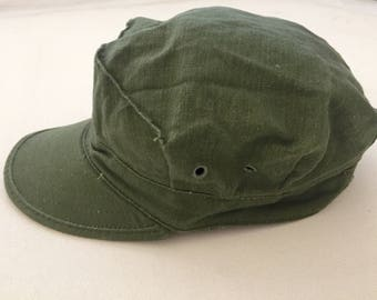 Vintage olive field hat 1980's us army green cap size Small distressed