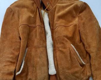 70's brown Suede sherpa lined hooded jacket vintage suede shearling lined hooded coat Medium Granite Bay
