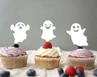 Ghost Halloween Cupcake Topper,  cupcake topper, happy halloween party, halloween night, halloween cake, halloween party