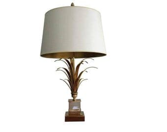 Brass pineapple leaf table lamp - maison charles gold leaf table lamp - brass regency table lamp - pineapple table lamp - french table lamp