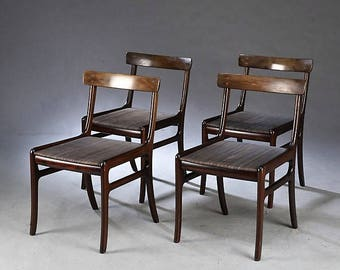 1960s Mahogany Rungstedlund Chairs by Ole Wanscher for Poul Jeppesen Set of 4 - vintage danish design chairs - scandinavian dining chairs