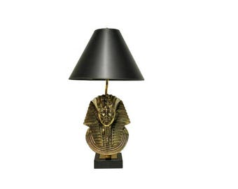 Pharaoh Lamp by Maison Jansen for Deknudt, 1970s - mid century brass t able lamp - hollywood regency table lamp - sculptural table lamp