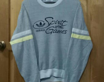 Rare!! Vintage ADIDAS sweatshirt Spirit Of The Games three stripes spell out made in Japan grey colour medium size