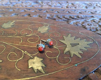 Vintage red coral and sterling silver post earrings.
