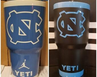 Custom No Decals! UNC Tar Heels YETI Rambler 30oz. TarHeels Blue or Pick a Color...