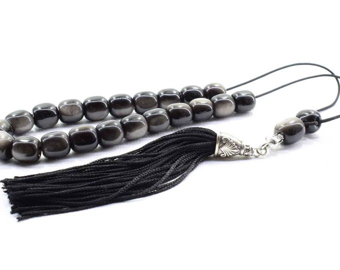 Black Obsidian Komboloi, Worry Beads, Greek Komboloi, Obsidian, Stress Relief, Gift for Him, Made in Greece, Gift for Dad, Father Gift