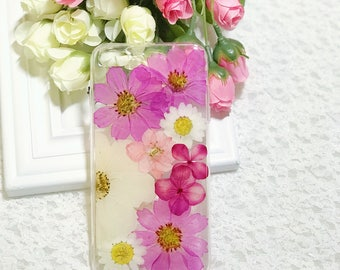 Handmade pressed flowers Silicone case for iphone 8 plus iphone 7 plus case for iphone 7/8 case cover pressed flowers