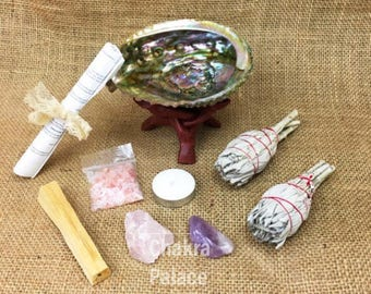 10 Piece Large Smudge Kit: 2 White California Sage, Abalone Shell, Wood Stand, Palo Santo, Amethyst, Rose Quartz, + Instructions
