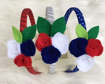 Red, white and blue headband- USA headband- felt flower headband - america headband- patriotic heasband