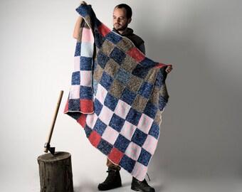 Blanket, Wool Blanket, Handmade afghan, Knit blanket, Big Vintage Blanket, Queen size blanket, Colorful blanket, home decor, Bedding, Wool