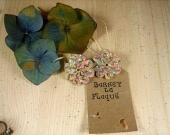 Glitter wood stud earrings