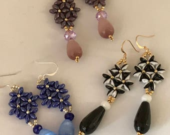 Earrings flowers and precious stones