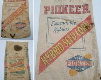 Vintage 1950s Seed Bags, Pioneer, Dekalb, Farmhouse, Country