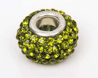 2 beads style European o15 with olive green crystals - 28014