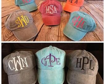 Womens Monogrammed hat, Low profile hat, Cotton monogrammed hat