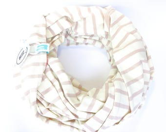 Jersey Loop Scarf Stripes Beige-Coloured