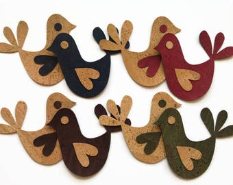 Cork Fabric Bird Die Cut, Fully Assembled Cork Bird Applique for Craft & Sewing Projects
