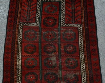 52% HOTSALE LA458, Old Afghan Handmade Baluch Prayer Rug 2'8 x 3'2 Ft