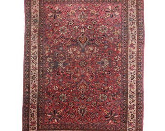 Hand-Knotted Persian Mashad Rug - 9′11″ × 13′3″ Red, Cream  # 3549