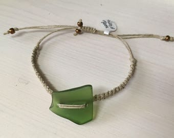 Knotted Hemp With Sea Glass or Glass Beads.