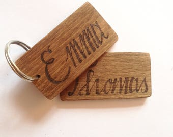 Personalised name keychain, custom name keyring, Friend gift, family gift, wooden gift, Gift for her, gift for himself