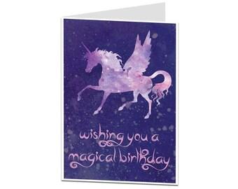 Unicorn Card. Unicorn Birthday Card. Magical Unicorn Birthday Card. Unicorn Card For Her Friend Daughter. Cosmic Unicorn Gift