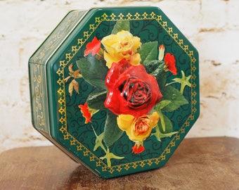 Vintage Embossed Green Octagonal Rose St Michael Biscuit Tin