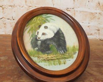 Vintage Framed Panda Painting