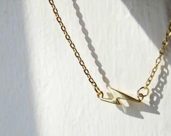 Lighting Bolt Necklace, gold necklace