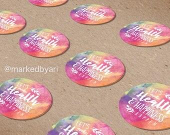 Dark Watercolor Small Circle Stickers