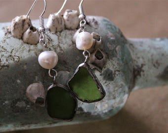 Kodiak Classic Lime Green Sea Glass Earrings with Fresh Water Pearls