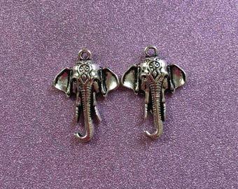 2 Antique Silvertone Elephant Head Charms