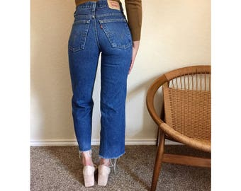 Vintage High Waisted Levi's with Raw Hem Size 26