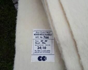 CC41 Utility Woven Wool Blanket WWII Cream