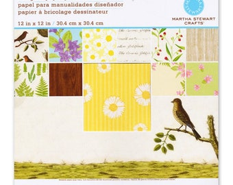"""Martha Stewart Crafts - 12"""" x 12"""" Paper Pad - 24 Double Sided Sheets - NATURE"""