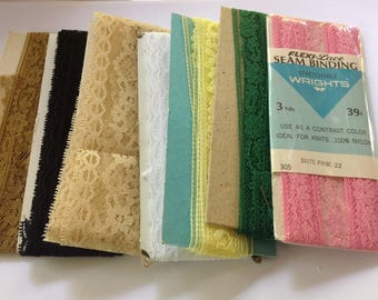 Vintage Collection of Seam Binding Lace, White, Black, Pink, Yellow, Green