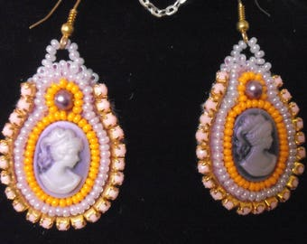 Bead embroidery cameo earring
