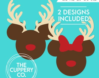 Mickey Minnie Reindeer Heads - SVG, Disney, Digital file, Silhouette Studio, DXF PNG Cricut Cutting Vinyl, Christmas, Rudolph, Deer, Antlers