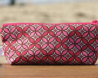 "Case and protects ""back to school"" notebook with Brown cotton print in geometric round pink and Fuchsia"