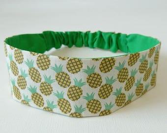 Headband, headband, headband, reversible woman elastic printed with pineapple motifs