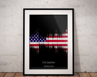 American Anthem Sound Wave - American Flag - A3 A4 Digital - Poster - Free shipping - The Star-Spangled Banner